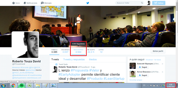 growth hacking ejemplo roberto touza david twitter perfil agosto